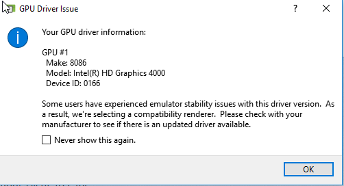 device driver warning
