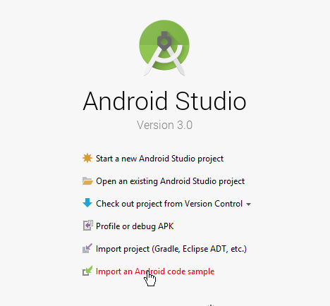 android studio import code sample